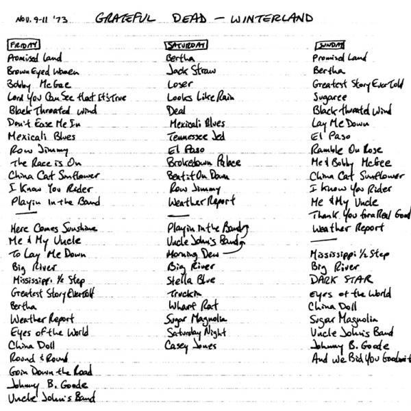 Winterland Arena November 10 1973 Grateful Dead