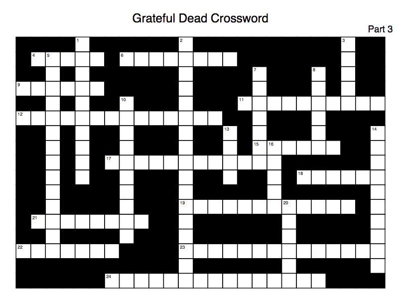 Dead Net Cryptical Crosswords August Grateful Dead